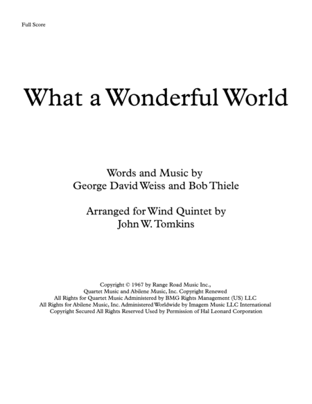 What A Wonderful World By Louis Armstrong Arranged For Wind Quintet