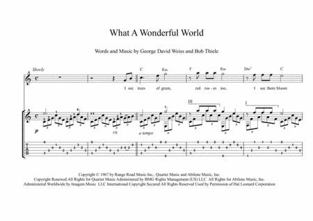 What A Wonderful World Fingesrtyle Guitar