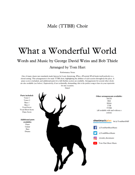 What A Wonderful World Male Ttbb Choir