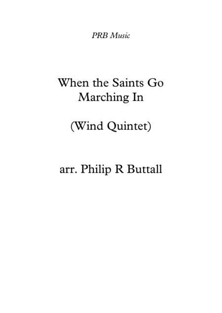 When The Saints Go Marching In Wind Quintet Score