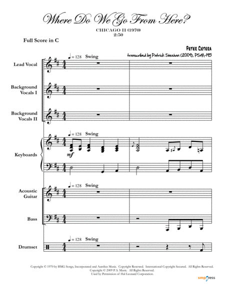 Where Do We Go From Here Chicago Complete Score