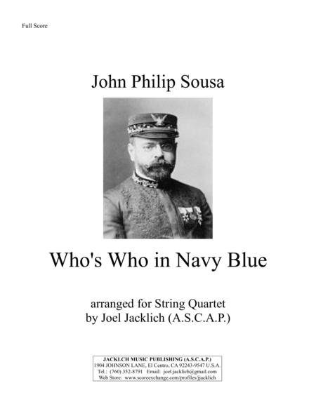 Whos Who In Navy Blue March For String Quartet