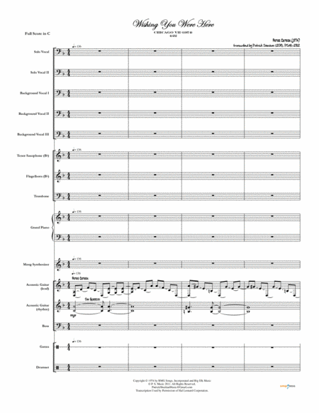 Wishing You Were Here Chicago Complete Score
