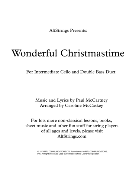 Wonderful Christmastime Intermediate Cello And Double Bass Duet
