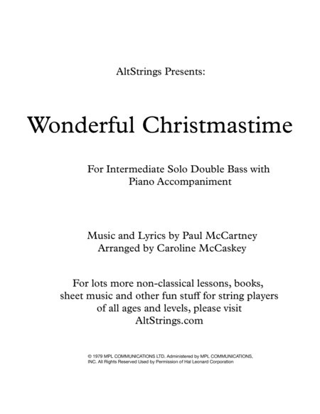 Wonderful Christmastime Intermediate Double Bass Solo With Piano Accompaniment