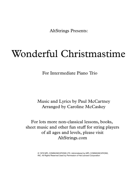 Wonderful Christmastime Intermediate Piano Trio Violin Cello And Piano