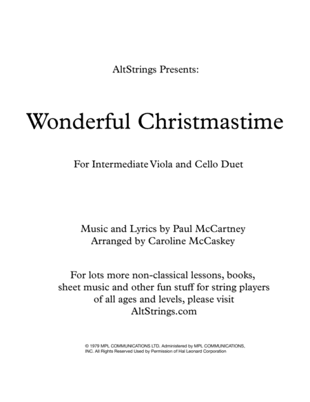 Wonderful Christmastime Intermediate Viola And Cello Duet