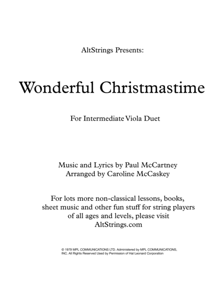 Wonderful Christmastime Intermediate Viola Duet