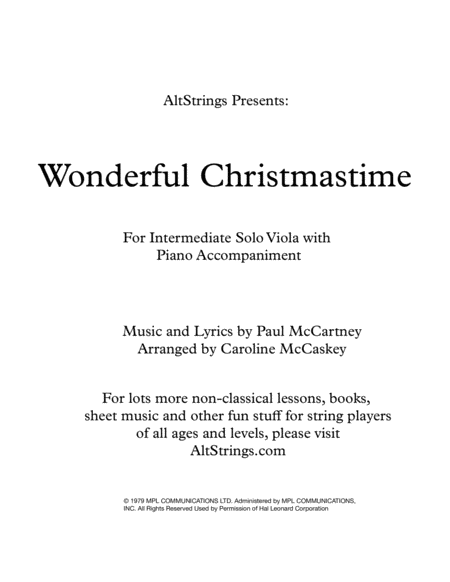 Wonderful Christmastime Intermediate Viola Solo With Piano Accompaniment