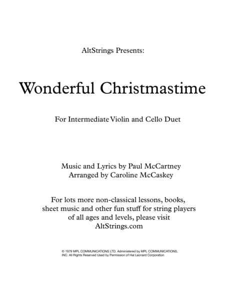 Wonderful Christmastime Intermediate Violin And Cello Duet