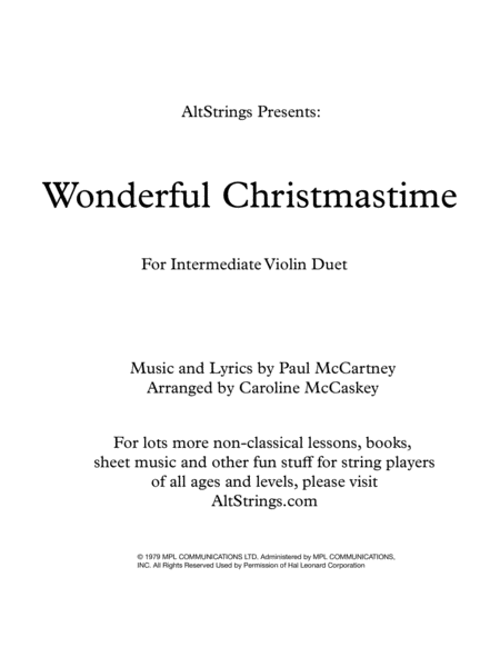 Wonderful Christmastime Intermediate Violin Duet