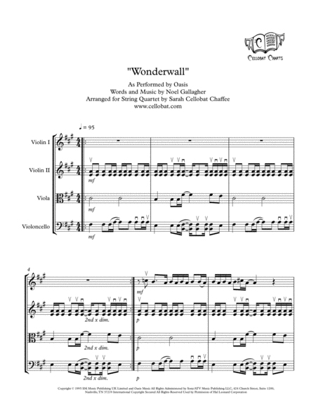 Wonderwall String Quartet Oasis Arr Cellobat Recording Available