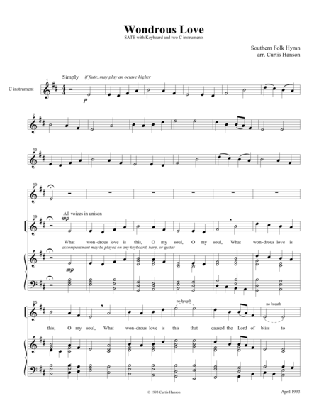Wondrous Love Satb Version 3
