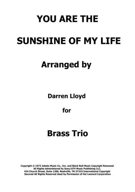 You Are The Sunshine Of My Life Brass Trio