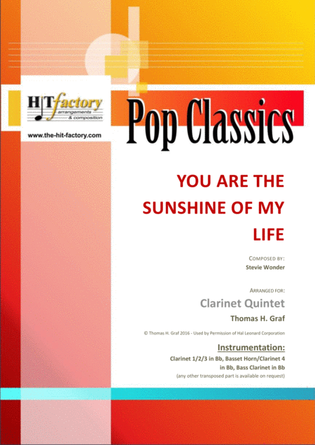 You Are The Sunshine Of My Life Stevie Wonder Classic Clarinet Quintet