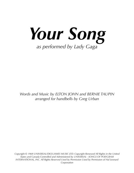 Your Song As Performed By Lady Gaga Elton John Bernie Taupin